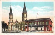 CATHEDRAL AND CUSTOM HOUSE MATAMOROS MEXICO POSTCARD 1937