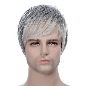 Men Short Wig Light Gray Color Natural Human Hair Hairpieces Heat OK 22cm