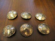 ORIGINAL BRITISH OLD BRASS FLORAL 3 PENCE COIN SHANK BUTTONS HANDMADE 6 PCS LOT!