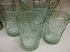 VINTAGE INSPIRED GREEN BUNNY KNOBBY Hobnail DRINKING WATER GLASSES EASTER 2PC