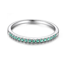 1/5CT Genuine Green Emerald Band Engagement Jewellery Ring Solid 10K White Gold