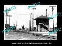 OLD LARGE HISTORIC PHOTO OF MORAM KANSAS, THE MKT RAILROAD STATION c1950 1