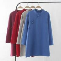 Retro Women's Coat Jacket Dress Tops Shirt Blouse Casual Loose Fit Chinese Style