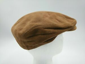 Country Gentlemen Brown Leather Suede Flat Cap Cabby Hat Fitted Size 7 5/8 VGC