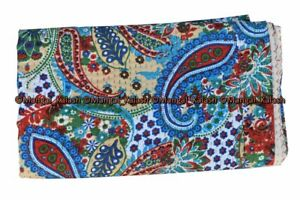 Indian cotton kantha paisley handmade quilt bohemian antique bedspread king size