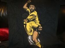Black PELE Drawing T Shirt Small BRAZIL Futbol Soccer Football 100% Cotton