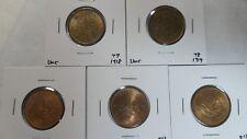 Japan 1 Sen 5 Pcs Lot, 1918 1919 1936 1938, UNC Key date