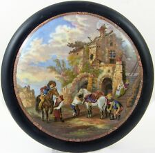 "Antique Lovely Framed Prattware Pot lid ""The Farriers"" VGC Horses Ect"