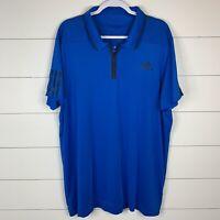 Adidas Climacool Barricade Mens Blue Size XL Short Sleeve Polo 1/4 Zip Shirt