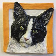 New listing Shorthair Cat Ceramic portrait 3d tile bas-Relief Handmade Sondra Alexander Art