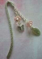 BEST FRIENDS Tibetan Silver Bookmark - Pink Beads & BUTTERFLY. BFF PAL MATE.