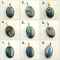Oval Shape Natural Rainbow Fire Labradorite Yellow Gold Plated Fancy Pendant