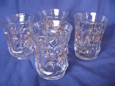Mid-Century Pressed Glass 4 Double Rock Old Fashioned Glasses Copper Trim