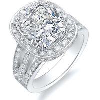 2.69 Ct Cushion Cut Split Shank Halo Diamond Pave 14K Engagement Ring H,VVS1 EGL
