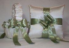 Ivory Cream Satin / Sage Green Trim Flower Girl Basket & Ring Bearer Pillow #2