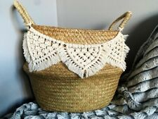 Large Belly Basket Boho Macrame Storage Basket Handmade