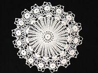 "handmade white 11"" 29cm vintage crochet lace doilie doily doiley round"