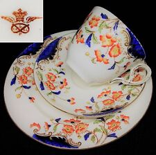 R H & S L Plant 1898-1902 Tuscan Works Imari Vintage English Bone China Trio Set