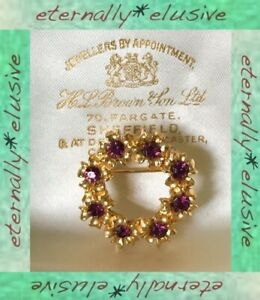 Amethyst Diamante Paste 22ct Gold Plated Floral Circle Wreath Brooch Pin Vintage