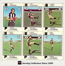 RARE-1974 Scanlens VFL Trading Card Full Team Set Collingwood (10)--EXCELLENT