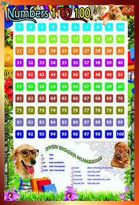 NUMBERS square 1 to 100 A2 Laminated educational school math nursery wall poster