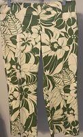 Zara Basic Women's Green Floral Print Capri Pants Size 6 Stretchy