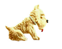 Vintage Cute WESTIE SCOTTIE TERRIER Dog Celluloid Brooch GIFT BOXED