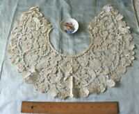 "Antique French Handmade Floral Lace Collar~33""X6""~Fine Linen~Bridal"