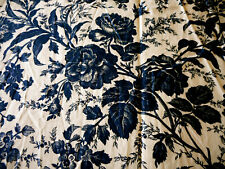 Vintage French Floral Roses Carnation Toile Linen Cotton Fabric ~ Deep Blue