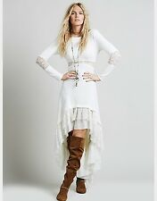Free People Dress Lace Lady Gwendolyn Hi low S Small Wedding Boho Hippie White