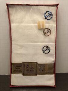 Vintage Mens Hankies Handkerchiefs - Monogramed F 3 NIP permanent press