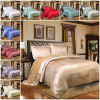 4 Piece Satin Bedding Set Jacquard Duvet Cover with Pillow Case Double King Size