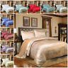 4 Piece Satin Bedding Set Jacquard Duvet Cover with Pillow Case Double King Size