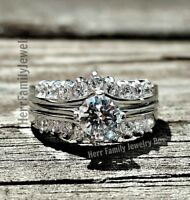 925 Sterling Silver Round cut Engagement Ring 2pc Wedding Band Bridal Set Ladies