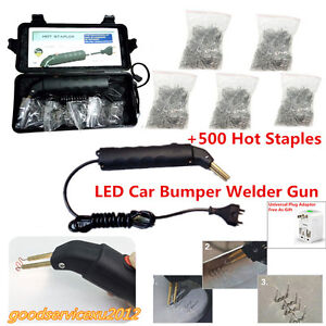 AC110-220V Car Bumper Welder Gun LED Hot Stapler Plastic Repair Tool+500x Staple