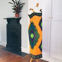 Vintage 90s Orange Green Blue Brown African Print Long Summer Dress 18