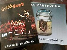 Ozzy promo card ,queensryche promo sticker