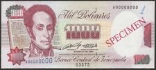 Billete especimen 1000 Bs. Agosto-08-1991 Venezuela...UNC