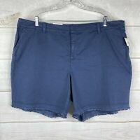 Style & Co. NWT Women's Plus Size 20W Chino Shorts Blue Raw Hem Cotton Stretch