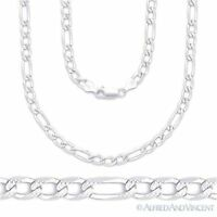 4mm Figaro Link Chain Diamond-Cut Pave Necklace Solid .925 Italy Sterling Silver