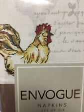 Envogue Rooster Script White Yellow Rust Set of 4 Fabric Cloth Cotton Napkins NW