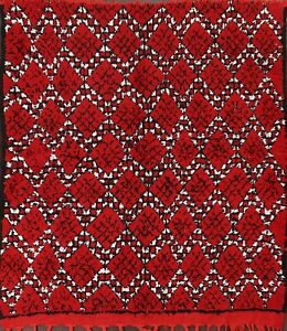 Semi-Antique Trellis Moroccan Oriental Area Rug Hand-knotted Wool 6x6 ft Square