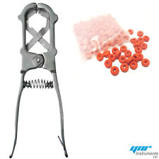 YNR Elastrator Castrating Pliers Rubber Ring Applicator Large Silver +100 Rings