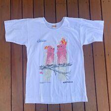 Vintage Single Stitch Australian Geographic Pink Cockatoo White Size 38