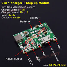 Micro USB 3.7V 18650 Lithium Li-ion Battery Charger Module Boost Step up 5v 12v