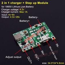 3.7v Micro USB 18650 Lithium Li-ion Battery Charger Module Boost Step up 5v 12v