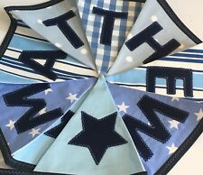 PERSONALISED FABRIC BUNTING  Spots Stripes Stars BABY BOYS pale Blue/Navy Mix