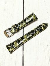 NOS Ladies Fashion Watch Strap Band 20mm - Olive Green Snakeskin Quick Release