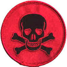 Iron On/ Sew On Embroidered Patch Badge Rebel Skull and Crossbones On Red Circle