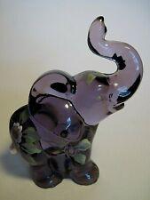 Vintage Fenton Purple Elephant Figure Hand Pained Signed Lynn Fenton, C A Hall